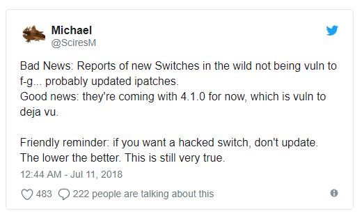 Switch破解GG了!任天堂修復了駭客所謂「無法修復」的漏洞