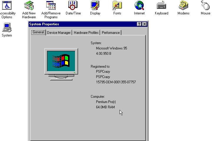 在系統資訊�可以看到模擬的處理器是Pentium Pro,並�載64MB記憶體。