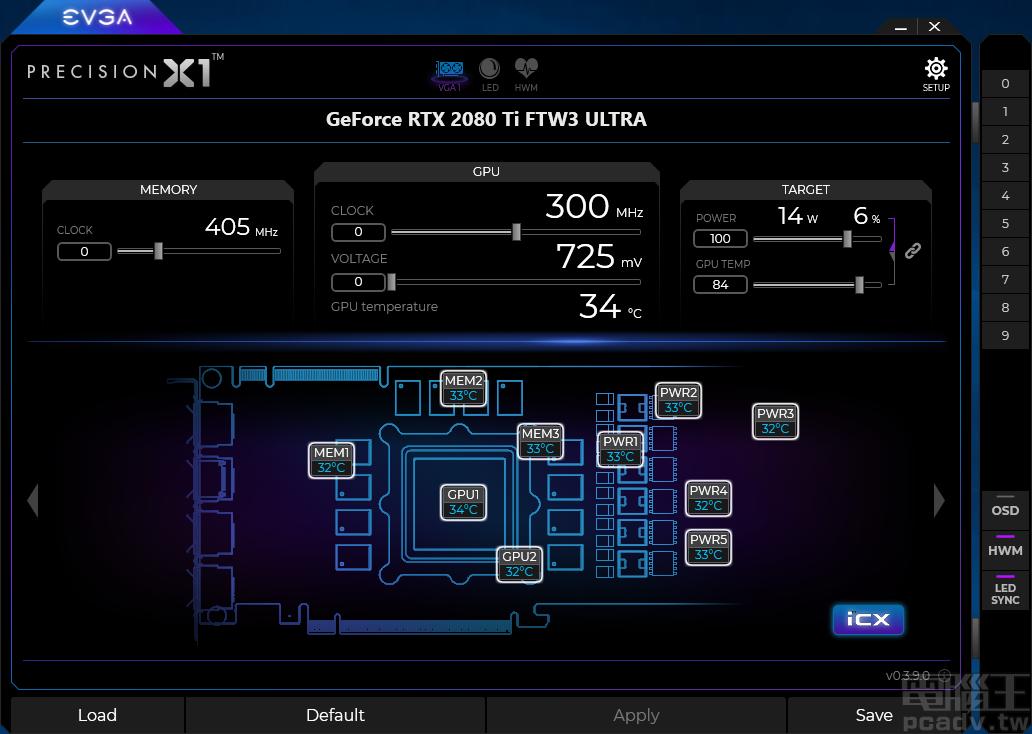 按下 iCX 按钮,便可得知显示卡各部位现在温度