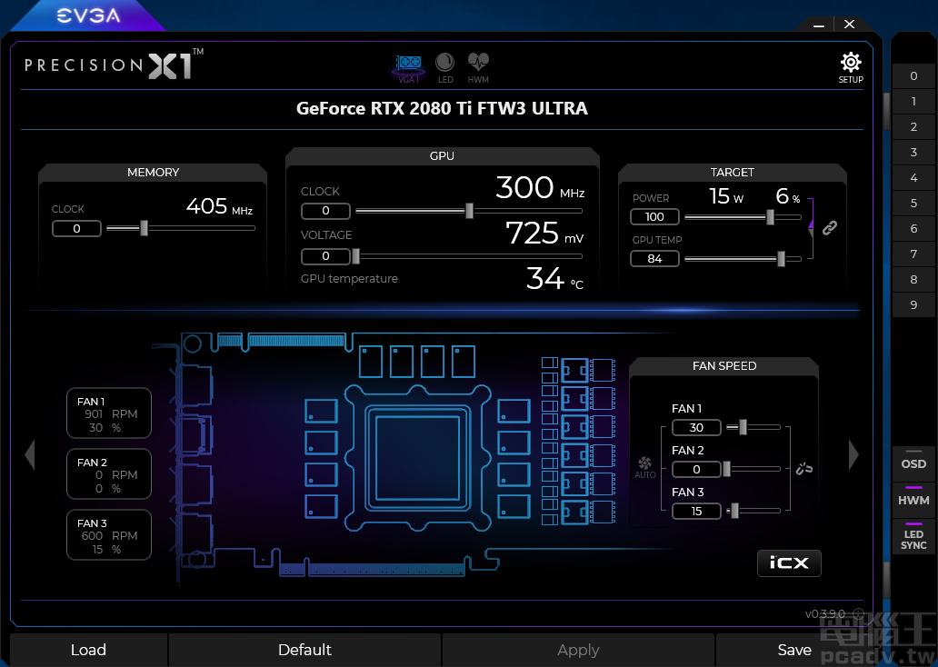 Precision X1 软体右侧 0~9 分别为设定档疾速切换按钮,下方 OSD、HWM、LED Sync 按钮紫色灯亮起,泄漏表现该功用启动中