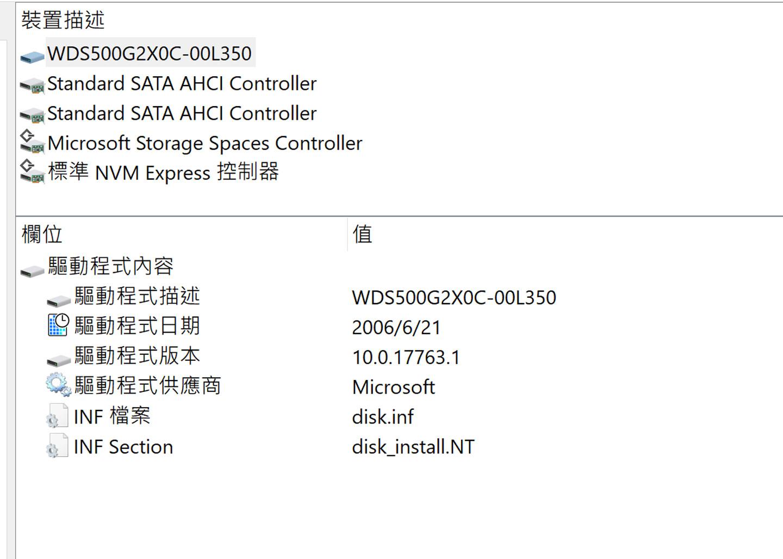 透過 AIDA64 可看到內建儲存元件為 WDS500G2X0C。