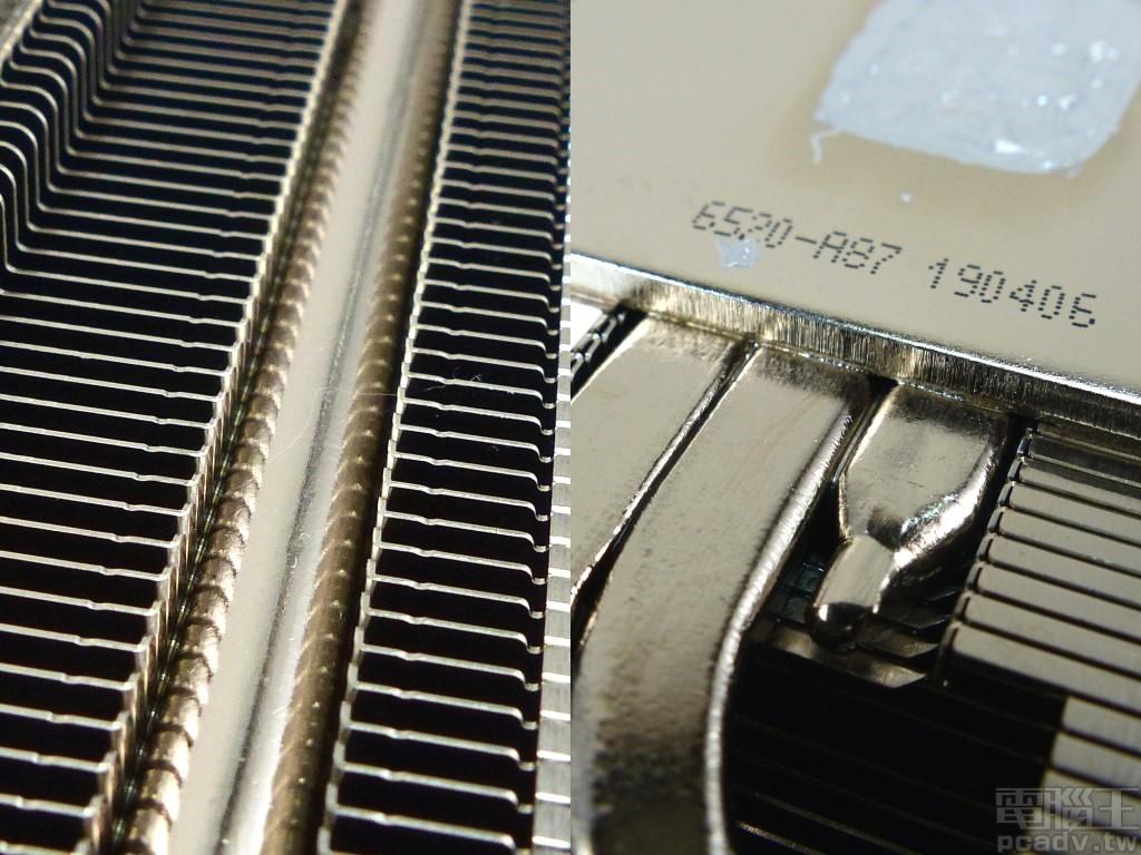 熱導管與散熱�片、底座焊接品質屬於前段�,既沒有空焊更沒有多餘的焊錫流竄