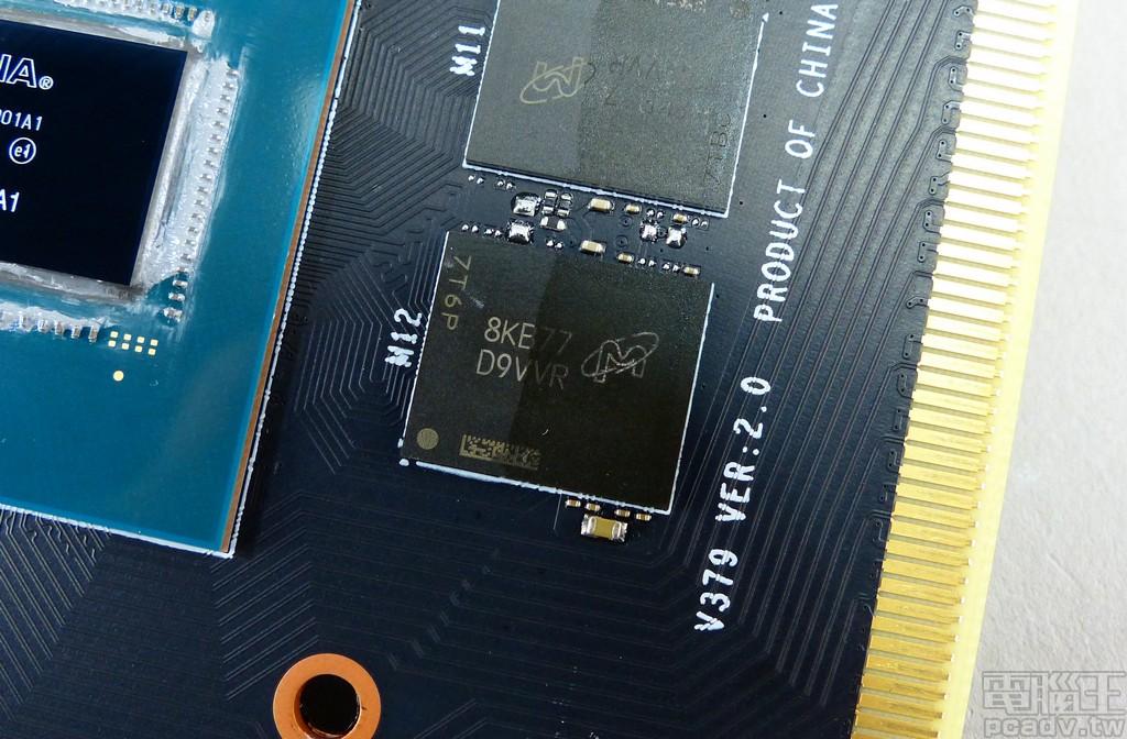 記憶體採用 6 顆 Micron MT51J256M32HF-80:B GDDR5 顆粒,單顆容量 8Gbit、匯流排寬度 32bit、速度 8Gbps