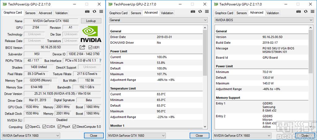 使用 GPU-Z 檢測,GeForce GTX 1660 Gaming X 6G 的 Power Limit 和 Temperature Limit 分別為 130W 和 83℃,使用者調整範圍分別為 -46%~8%、-22%~8%