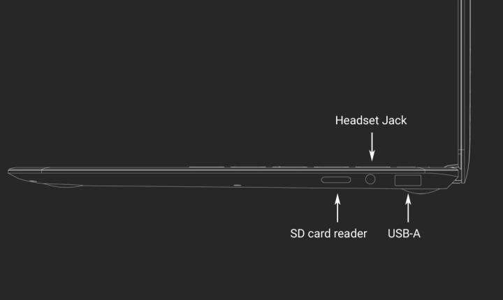 機身右側則有USB Type-A、3.5mm耳機、microSD讀卡機等端子各1組。