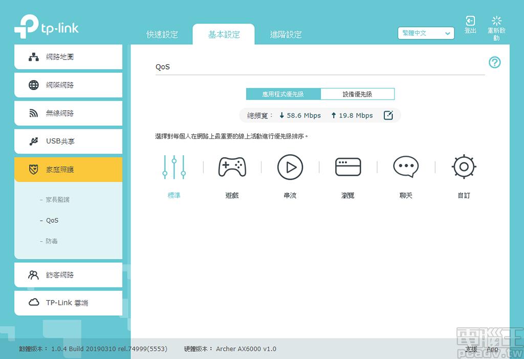 ▲ Archer AX6000 QoS 功能支援應用程式優先級調整,使用者選擇遊戲或是串流優先權後,便會自動提高此類封包的傳輸優先順序。
