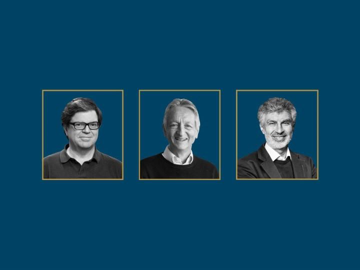 楊立昆、傑佛瑞·辛頓和約書亞·�吉�。圖片來源:WIRED