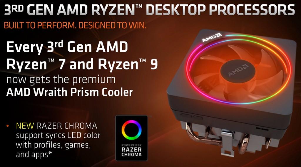 ▲ 第三代 Ryzen 桌上型處理器 Ryzen 7 和 Ryzen 5 盒裝附屬 Wraith Prism 散熱器,並能夠透過 Razer Chroma 同�控制燈光效果。