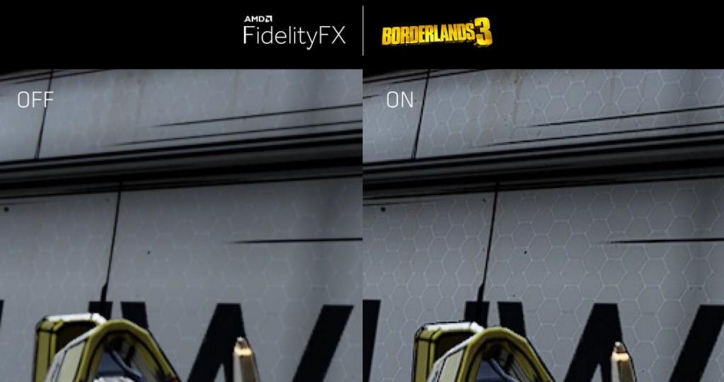 ▲ Boaderlands 3「邊緣禁地 3」將整合 FidelityFX,可以看到原本模糊的牆壁貼圖更為清晰。