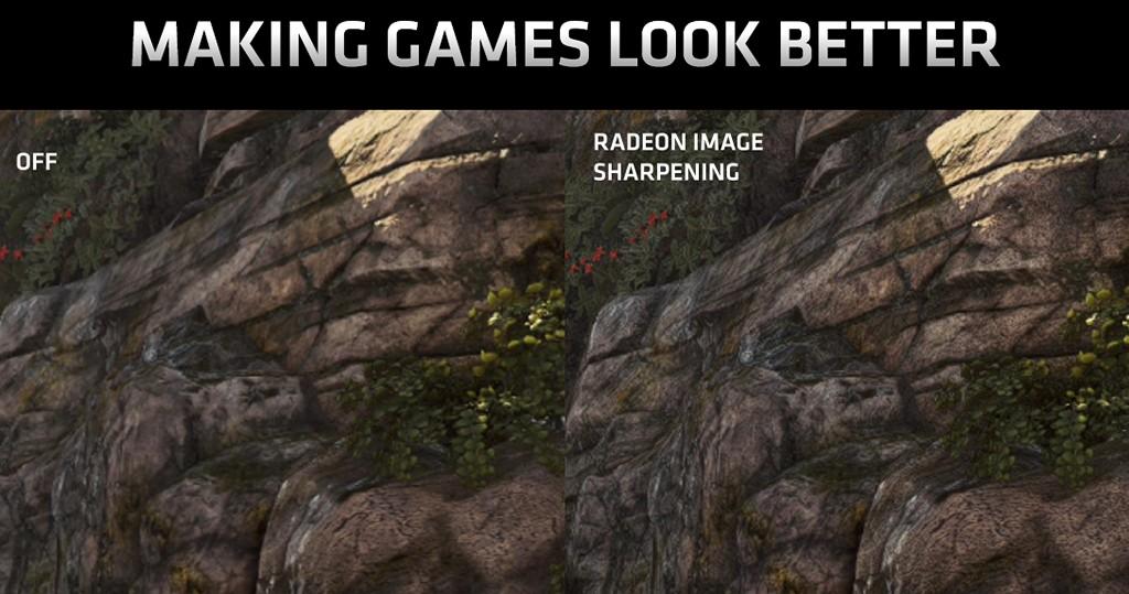▲ Radeon Image Sharpening 從驅動程式角度套用至遊戲,石�貼圖紋理變得更清晰,加上對比自適應銳利化技術僅針對模糊區域強化,因�不會如同一般銳利化演算法,在亮暗對比強烈交接處出現鬼影。