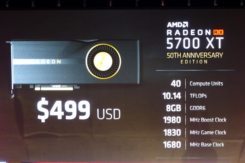 ▲ Radeon RX 5700 XT 50th Anniversary Edition 提供更高的運作時脈。