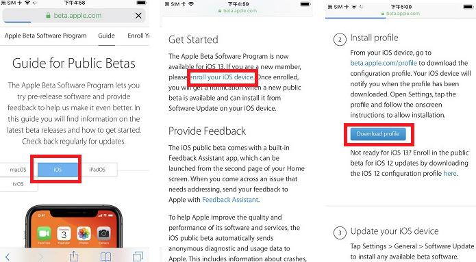接著選擇 iOS,並於 Get Started 裡找到「enroll you device」,最後按下「Download profile」。