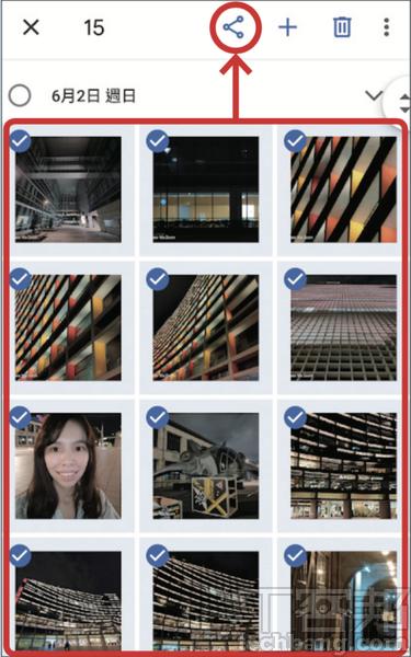 2.選擇需要分享的照片後,選擇右上角的「分享」圖示。