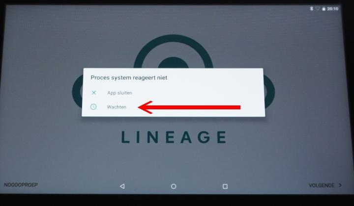 第一次執行時會出現Lineage的設定畫面,這個錯誤訊息似乎是德文 (筆者看不懂),建議點擊下方的等待程式回應。