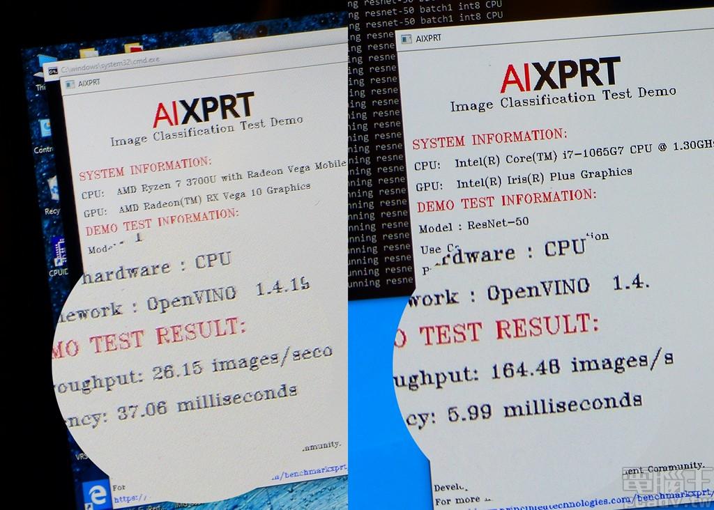 ▲ 深度�習應用,Ice Lake U 於 AIXPRT Image Classification 展示程式效能約為 Ryzen 7 3700U 的 6.3 倍。