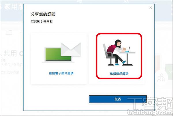 2.分享Office 365授權有兩種,一個是透過電�郵件,另一個是連結邀請。