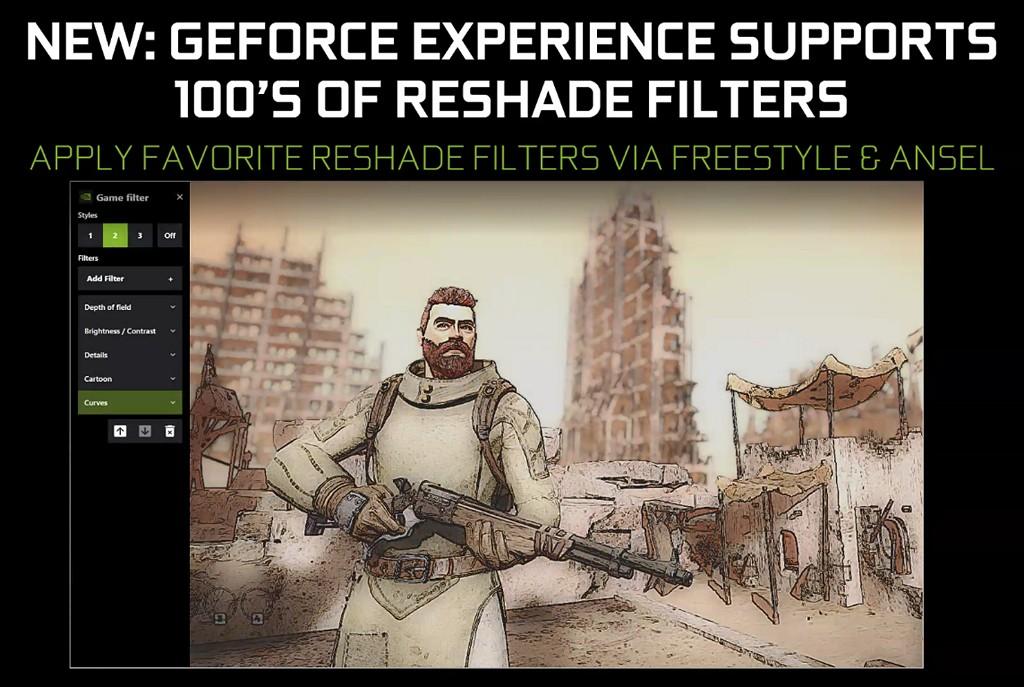 ▲ ReShade 濾鏡效果可由 Freestyle 或是 Ansel 調用,但會根據遊戲類型、遊戲開發者整合 Ansel 方式,而有使用數量上的差異。