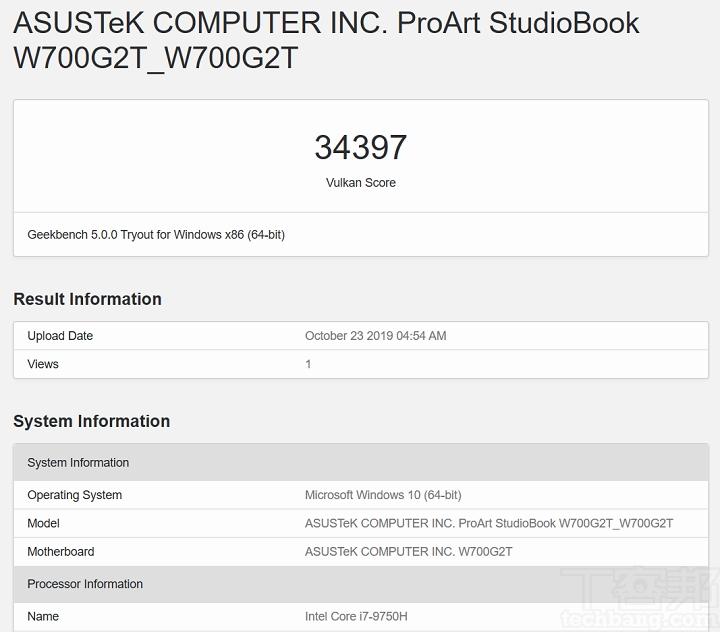 在 Geekbench 5 測試 Vulkan,並選擇 Quadro T2000,獲得的分數為 34,397 分。