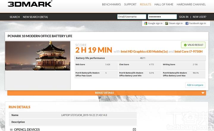 利用 PCMark 10 Office模式下,是模擬一般 Office 模式下使用情境,續航力測得 2小時 19 分鐘。