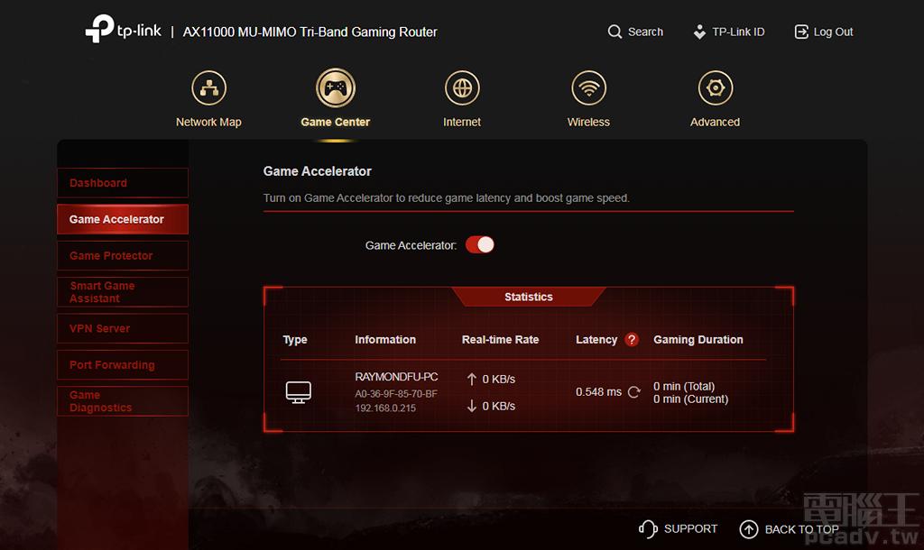 ▲ Game Accelerator 遊戲加速器其實就是針對遊戲封包特化的 QoS,能夠辨識出網路流量內的遊戲封包,提升該類型封包的傳輸優先權。