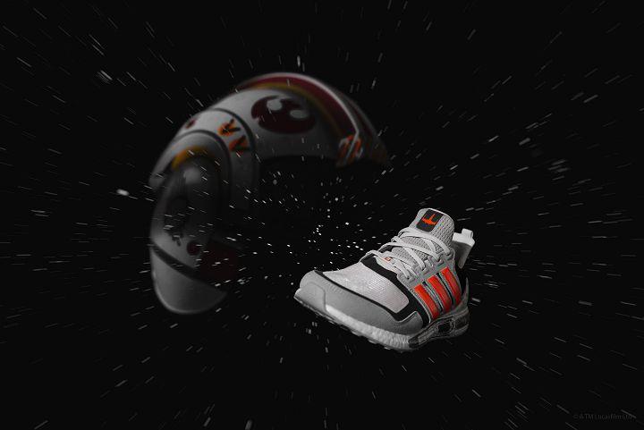 Ultraboost S&L 對應 X 翼戰機(X-Wing Starfighter),鞋後跟則注入電影金句。(建議售價:6,500元)