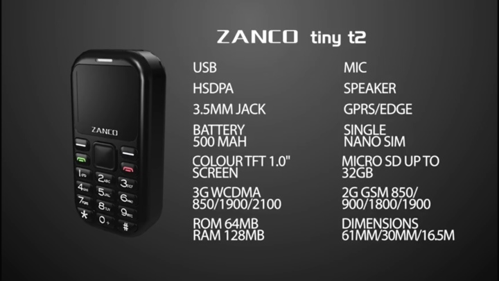 tiny t2規格簡表,它內建64MB儲�空間,並可透過microSD記憶卡擴充容量。