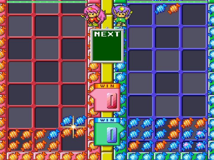 雙人模式下,玩家分別使用半個場地進行對戰。