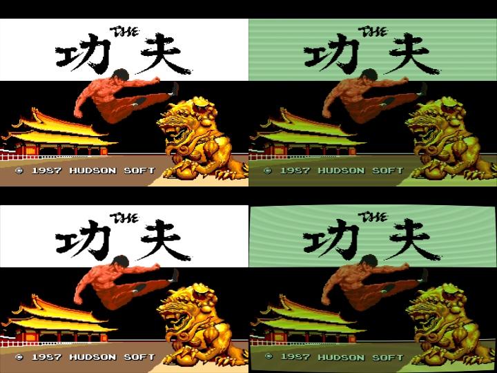 特效�定由左上起順時鐘為,原始,掃描線(模擬傳統平面電視效果),復古(模擬傳統球面電視效果),Enhanced(反鋸齒與圓滑化)。