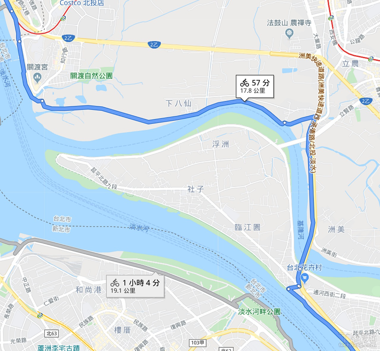 往淡水的洲美高架橋部分也同樣可以正確導航。