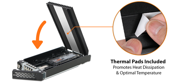 ToughArmor MB720M2K-B 抽取架亦安排預先貼上導熱墊的鋁質散熱片,以便替高效能 M.2 NVMe SSD 降溫。