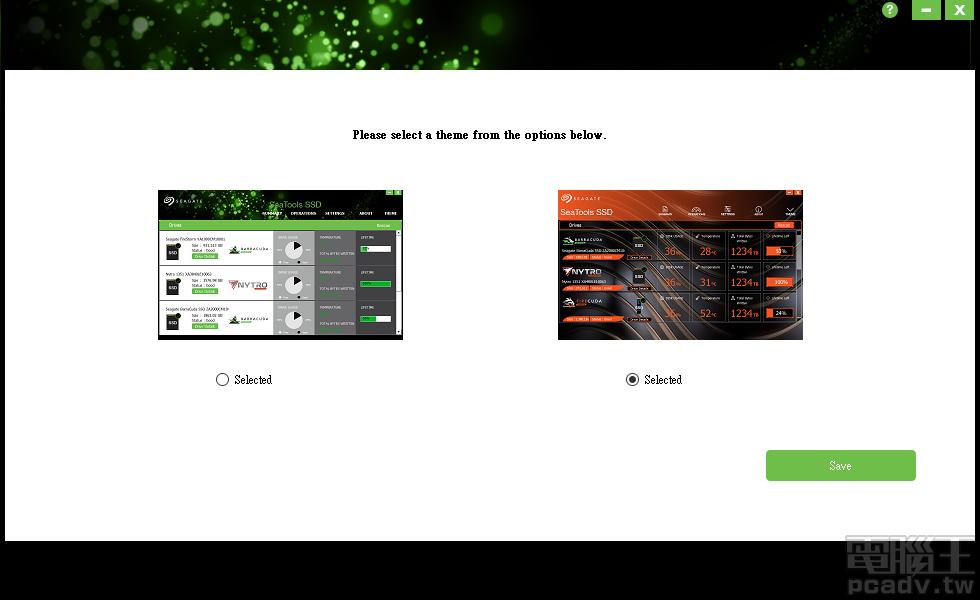 SeaTools SSD 安裝完畢後的第一次啟動,程式請使用者選用 BarraCuda 的綠色版型,或是 FireCuda 的橘紅色,之後亦可於該程式介面的 Theme 分頁轉換顏色版型。