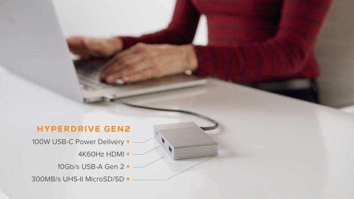 HyperDrive Gen2不但支援速度翻倍的USB 3.2 Gen2,還支援4K、60FPS影像輸出與最高功率達100W的Power Delivery。
