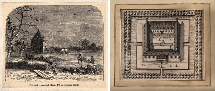 過去隔離所有簡易的木屋形式(左),後來也出現系統化、大規模建蓋,低樓層沒有窗戶、單一出入口,隔離所�間有活動空地,外圍則以河流、樹叢環繞,阻擋「瘴氣」飄散,圖(右)為近現代荷�萊頓的瘟疫收容所。圖片來源:(左)Moorfields, London,Wiki/(右)Wellcome Library