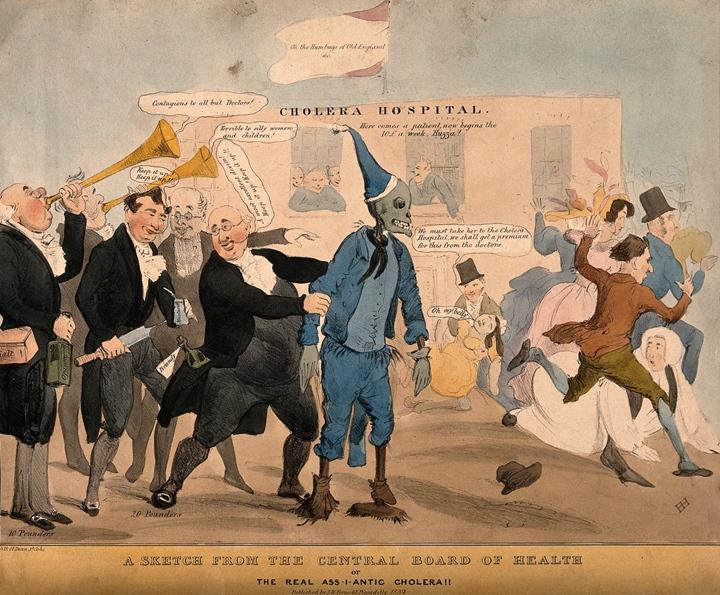 媒體傳�,也可能強化社會的恐懼。十九世紀霍亂蔓延,延燒速度更快的是報紙、廣�,搶在疾病到來前,媒體對染病者的敘事想像,造成大西洋東西兩岸的集體恐慌。圖�引發驚聲尖叫的骷髏,描繪的便是大眾心�的霍亂病人。 圖片來源:Henry Heath,wellcome collection