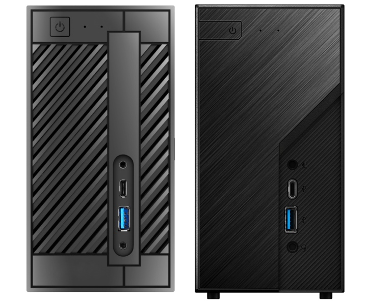 DeskMini A300(左)與DeskMini X300(右)的外觀有些不同。