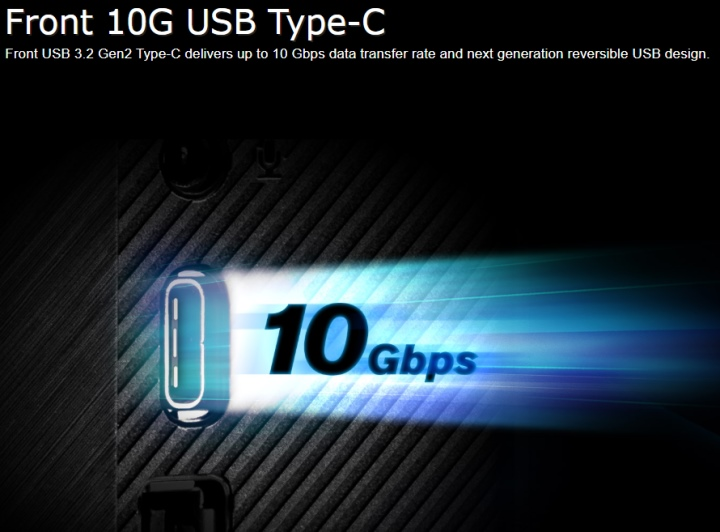 DeskMini H470前方的USB 3.2 Gen2 Type-C端�傳輸速度高達10Gbps。後方的的USB 3.2 Gen1 Type-C傳輸速度為5Gbps,可透過Alternate Mode輸出DisplayPort影像訊號。