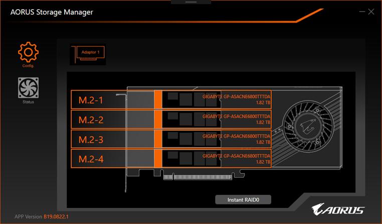AORUS Storage Manager 可以抓到擴充卡並一鍵做 RAID 0。