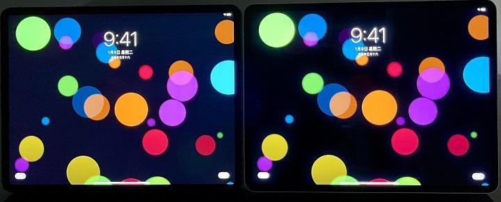 同時來看黑色與色彩的表現,mini LED 顯示技術的 iPad Pro 12.9 吋,因為黑色更黑,彩色的圓圈顏色也更飽和。
