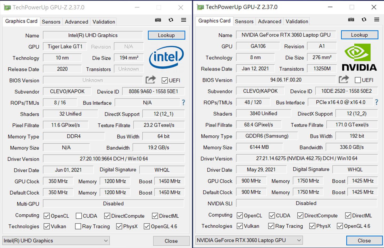 內建整合型顯卡 Intel UHD Graphics 與NVIDIA GeForce RTX 3060 6GB GDDR6 筆記型電腦 GPU 的詳細規格資料。