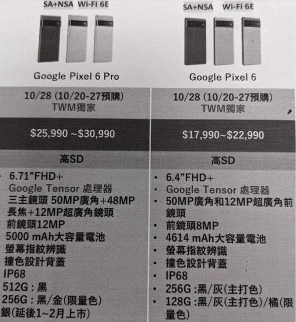 Google Pixel 6 系列在台銷售日期及售價曝光