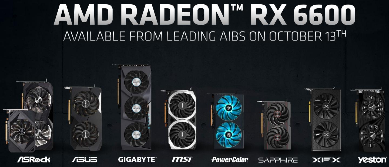 Radeon RX 6600並不會推出公板卡,各板卡商會推出尺寸、定位各異的自製卡。